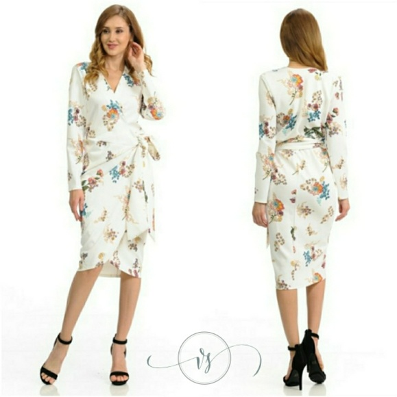 c3374f604 Vanille Style Dresses | White Floral Wrap Midi Dress | Poshmark